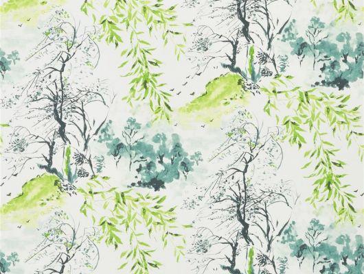 Заказать яркие дизайнерские обои для кухни арт. PDG651/01  из коллекции Shanghai Garden от Designers Guild, Великобритания с изображением  пейзажа  в стиле китайских гравюр в черно-зеленых тонах на белом фоне, Shanghai Garden, Обои для гостиной