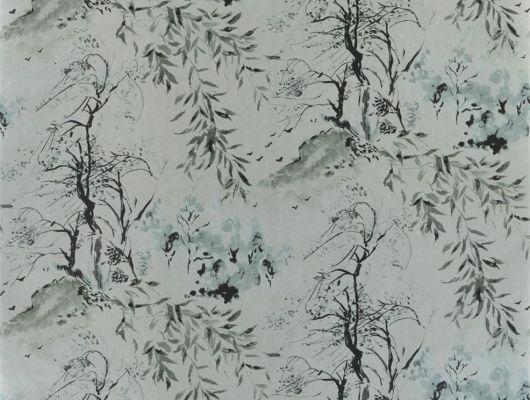 Стильные темные обои для коридора арт. PDG651/05  из коллекции Shanghai Garden от Designers Guild, Великобритания с изображением  пейзажа  в стиле китайских гравюр в черно-серых тонах на серебристом металлизированном фоне, по недорогой цене от поставщика, Shanghai Garden, Обои для гостиной