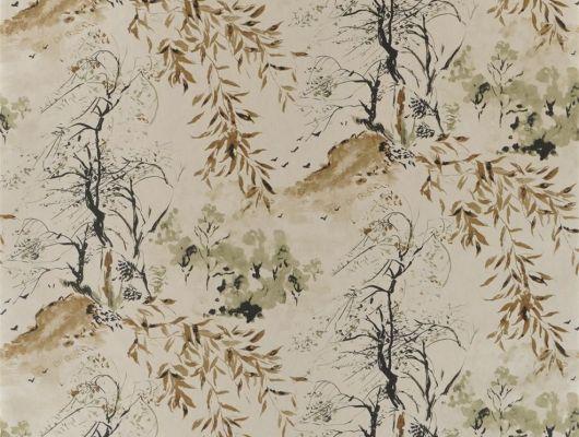 Обои для столовой арт. PDG651/07  из коллекции Shanghai Garden от Designers Guild, Великобритания с изображением  пейзажа  в стиле китайских гравюр в черно-коричневых тонах на металлизированном фоне на складе в Москве, Shanghai Garden, Обои для гостиной, Обои для спальни