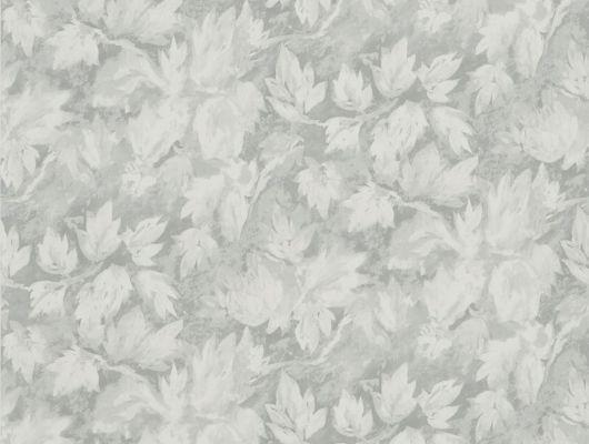 Обои в гостиную  арт. PDG679/03 из коллекции Caprifoglio от  Designers guild пр-во Великобритания с серыми листьями, купить с доставкой. Обои в интерьере, Caprifoglio, Обои для гостиной, Обои для кабинета, Обои для кухни, Обои для спальни