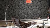 Обои флизелиновые Fardis PARADISE Laguna, для гостиной,  для спальни с крупными цветами серебристого цвета на черном фоне, купить обои в Москве, купить в интернет-магазин обоев, салон обоев, большой ассортимент, оплата обоев онлайн,  доставка обоев на дом