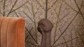 Панно KORGPIL для гостиной из коллекции Scandinavian Designers III от Borastapeter с пышным растительным рисунком, из растущих рябин с розовыми цветами на коричневом фоне, с оплатой картой в магазине
