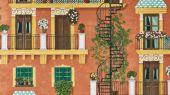 Флизелиновые обои пр-во Великобритания коллекция Seville от Cole & Son, с рисунком под названием Alfaro. Архитектурный рисунок яркой палитры на терракотовом фоне. Обои для кухни, обои для спальни, обои для коридора. Купить обои в студии Одизайн, онлайн оплата, бесплатная доставка