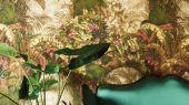 Флизелиновые обои пр-во Великобритания коллекция Seville от Cole & Son, с рисунком под названием Hispalis архитектурный и растительный узор, многоцветная палитра с оттенками хаки. Обои для гостиной, обои для спальни, для коридора. Купить обои в интернет-магазине, бесплатная доставка