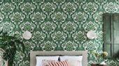 Флизелиновые обои пр-во Великобритания коллекция Seville от Cole & Son, рисунок под названием Lola крупный дамаск зеленого цвета на белом фоне. Обои для гостиной, обои для спальни, обои для кабинета. Большой ассортимент, бесплатная доставка, купить обои