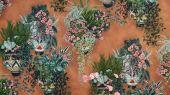 Флизелиновые обои пр-во Великобритания коллекция Seville от Cole & Son, рисунок под названием Talavera имитация стены терракотового цвета с цветами в горшках. Обои для гостиной, обои для кухни, обои для прихожей. Купить обои в салоне Одизайн, бесплатная доставка, оплата онлайн