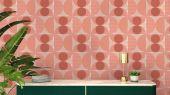 Обои флизелиновые Fardis GEO SOLAR, для гостиной, для кухни, с крупным геометрическим рисунком, розового и серого цвета, купить в Москве, большой ассортимент, доставка обоев на дом, интернет-магазин обоев , оплата обоев онлайн, салон обоев