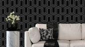 Обои флизелиновые  Fardis GEO VECTOR для гостиной, с крупным геометрическим рисунком, в черно белых цветах, купить в Москве, доставка обоев на дом, оплата обоев онлайн, большой ассортимент