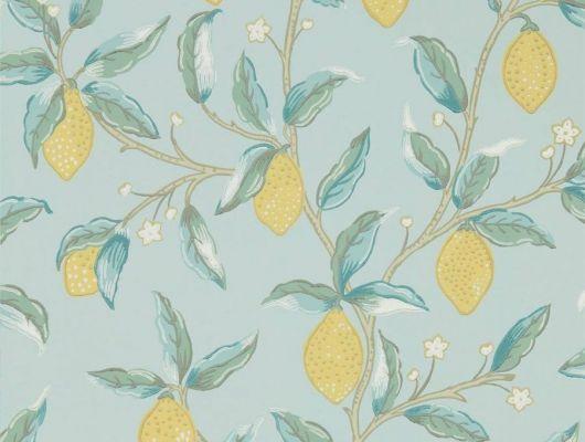 Английские обои арт. 216674 из коллекции Melsetter от Morris, Великобритания с изображением лимонного дерева подойдут для ремонта квартиры.Фото в интерьере., Melsetter, Бумажные обои, Дизайнерские обои, Новинки, Обои для гостиной, Обои для кухни