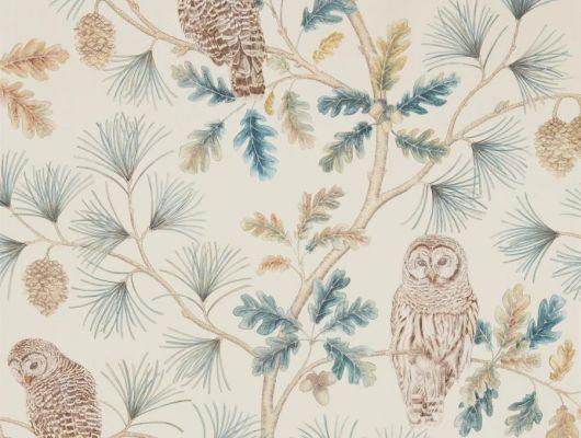 Заказать сказочные флизелиновые обои для детской Owlswick из коллекции Elysian от Sanderson арт. 216595 с изображением сов на ветвях можно выбрать на сайте odesign.ru, Elysian, Обои для гостиной