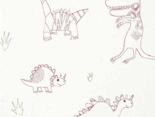 Купить детские обои Jolly Jurassic арт. 112654/70525 от Harlequin с нарисованными от руки динозаврами с доставкой., Book of Little Treasures