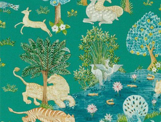 Обои для кухни Pamir Garden арт. 216765 из коллекции Caspian с представлением Персидского сада в стиле фрески с эффектом кракелюра,выбрать в шоу-руме О-Дизайн, Caspian, Обои для гостиной, Обои для кухни, Обои для спальни