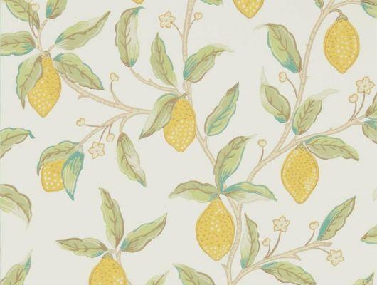 Бумажные  обои арт. 216672 из коллекции Melsetter от Morris, Великобритания с лимонами не нежном зеленом фоне купить для ремонта кухня., Melsetter, Бумажные обои, Обои для гостиной, Обои для кухни, Обои для спальни, Хиты продаж