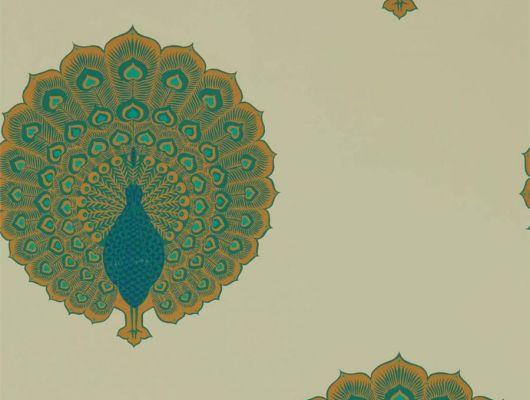 Обои в гостиную Kalapi арт. 216757 из коллекции Caspian, Sanderson,с изображением характерных павлинов Калапи с их великолепными металлическими хвостовыми перьям.Приобрести в шоу-руме в Москве.Фото в интерьере., Caspian, Обои для гостиной, Обои для кабинета, Обои для спальни