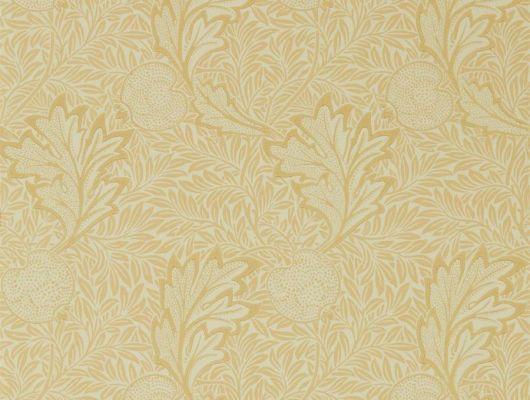Бумажные обои для гостиной арт. 216691 из коллекции Melsetter от Morris, Великобритания с растительным рисунком из листьев и фруктов в желтом цвете выбрать в большом ассортименте в Москве, Melsetter, Бумажные обои, Обои для гостиной, Обои для спальни
