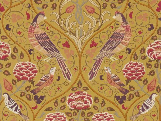 Дизайнерские бумажные обои арт. 216685 из коллекции Melsetter от Morris, Великобритания с разнообразными цветами и птицами в металлическом оттенке использовать для ремонта гостиной.Фото в интерьере, Melsetter, Бумажные обои, Детские обои, Обои для гостиной, Обои для кабинета, Хиты продаж