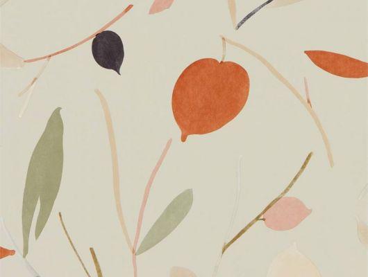 Выбрать дизайнерские обои в коридор арт. 111996 дизайн Oxalis из коллекции Zanzibar от Scion, Великобритания с принтом в виде листьев оранжевого цвета и цвета хаки на серо-бежевом фоне в интернет-магазине Odesign, онлайн оплата, Zanzibar, Обои для гостиной, Обои для спальни