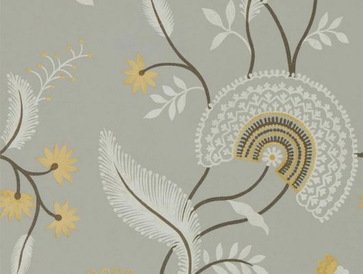 Приобрести английские обои Hakimi арт. 216770 из коллекции Caspian, Sanderson, с цветочными мотивами на пепельно сером фоне для ремонта гостиной., Caspian, Обои для гостиной, Обои для кухни, Обои для спальни
