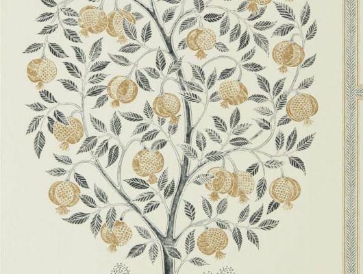 Купить флизелиновые обои Anaar Tree арт. 216791 из коллекции Caspian, Sanderson,  Великобритания,рисунком гранатового дерева в цвете древесного угля и золота,с бесплатной доставкой., Caspian, Обои для гостиной, Обои для кухни, Обои для спальни