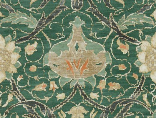 Подобрать Обои для гостиной дизайн Montreal арт. 216862 из коллекции Compilation Wallpaper от Morris , Великобритания в зеленом цвете в каталоге. Фото в интерьере., Compilation Wallpaper, Обои для гостиной, Обои для кухни