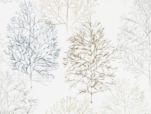 Заказать фирменные обои в коридор арт. 112003 дизайн Soetsu из коллекции Zanzibar от Scion, Великобритания с принтом в виде абстрактных деревьев серого цвета и блестящего золотистого цвета на белом фоне в магазине обоев Odesign в Москве, широкий ассортимент, Zanzibar, Обои для гостиной, Обои для спальни