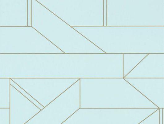 Выбрать обои в коридор арт. 112015 дизайн Barbican из коллекции Zanzibar от Scion, Великобритания с современным геометрическим принтом золотого цвета на серо-голубом фоне в интернет-магазине  в Москве, онлайн оплата, Zanzibar, Обои для гостиной, Обои для спальни