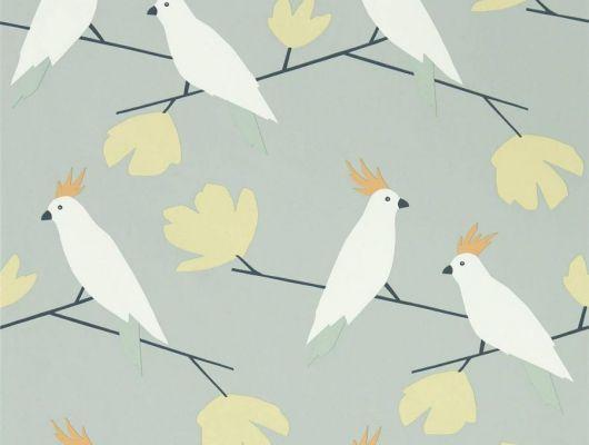 Купить обои флизелиновые для гостиной Love Birds с рисунком какаду на сером фоне из коллекции Esala от Scion, Esala, Обои для гостиной, Обои для кухни