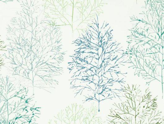 Выбрать фирменные обои в гостиную арт. 112002 дизайн Soetsu из коллекции Zanzibar от Scion, Великобритания с принтом в виде абстрактных деревьев в зеленых и серых тонах на белом фоне в шоу-руме Odesign в Москве, бесплатная доставка, Zanzibar, Обои для гостиной, Обои для спальни
