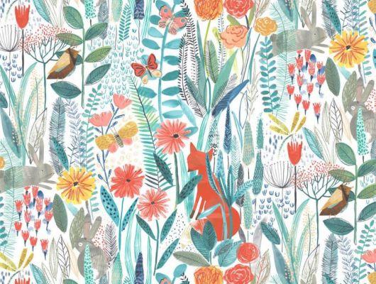 Выбрать разноцветные обои Hide And Seek арт. 112633 от Harlequin с акварельным изображением лис, кроликов и бабочек среди цветов и травы в интернет-магазине., Book of Little Treasures, Обои для кухни