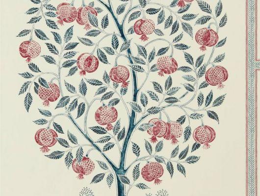 Выбрать флизелиновые обои Anaar Tree арт. 216790 из коллекции Caspian, Sanderson,  Великобритания,с изображением гранатового дерева в тонкой декоративной каймой выбрать в салоне О-Дизайн., Caspian, Обои для гостиной, Обои для кабинета, Обои для кухни