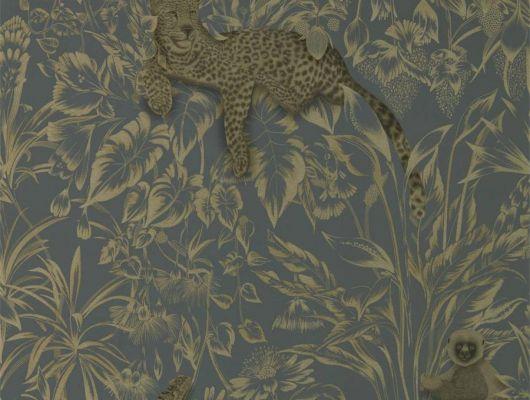 Заказать дизайнерские обои Lengau, арт. 112251 из коллекции Mirador, Harlequin с изображением животных среди экзотических растений в оттенках графита и серебра в интернет-магазине., Mirador, Обои для гостиной, Обои для кабинета