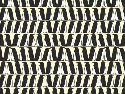 Выбрать обои для спальни Pedro с черно-белыми пингвинами из коллекции Esala от Scion на сате odesign.ru, Esala, Обои для гостиной, Обои для спальни