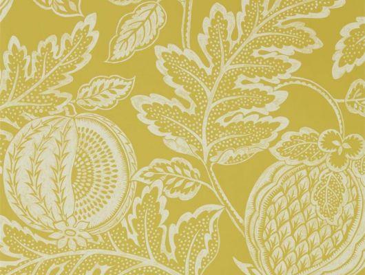 Обои для спальни Cantaloupe арт. 216762 из коллекции Caspian, Sanderson,  Великобритания с растительным орнаментом на желтом фоне купить в интернет-магазине., Caspian, Обои для гостиной, Обои для кухни, Обои для спальни