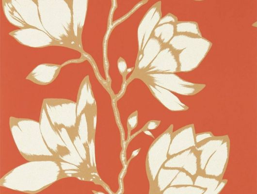 Приобрести обои в интерьер прихожей арт. 112146 дизайн Lustica из коллекции Salinas от Harlequin, Великобритания с крупным рисунком цветов белого цвета с золотистым контуром  на насыщенном красно-оранжевом  фоне в шоу-руме в Москве, онлайн оплата, Salinas, Обои для гостиной, Обои для спальни