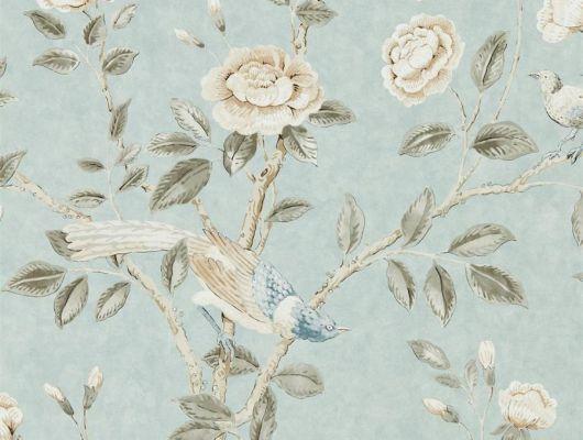 Обои в гостиную Andhara арт. 216797 из коллекции Caspian, Sanderson,  Великобритания, с райскими птицами, нежными стрекозами,пионами и изящными бабочками на нежном голубом фоне, выбрать по каталогу., Caspian, Обои для гостиной, Обои для спальни