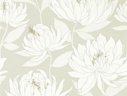 Купить обои в спальню арт. 112129 дизайн Sebal из коллекции Salinas от Harlequin, Великобритания с изображением хризантем белого цвета с серебристым контуром на сером фоне в магазине обоев Odesign, Salinas, Обои для гостиной, Обои для спальни