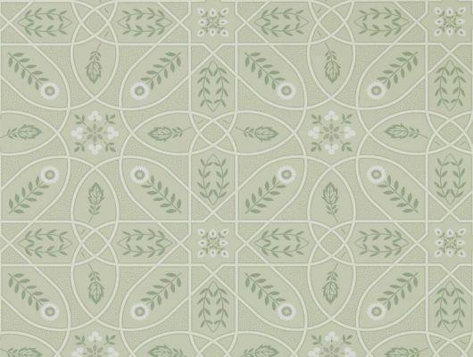 Купить английские обои для спальни арт. 216702 из коллекции Melsetter от Morris, Великобритания с геометрическим орнаментом в светло-зеленом цвете в интернет-магазине в Москве, бесплатная доставка, Melsetter, Бумажные обои, Обои для гостиной, Обои для кухни, Обои для спальни