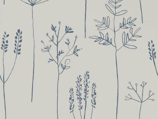 Купить английские обои в гостиную арт. 112019 дизайн Soetsu из коллекции Zanzibar от Scion, Великобритания с принтом в виде абстрактных растений темно-серого цвета на серо-коричневом фоне в минималистичном стиле в салоне обоев Odesign в Москве, Zanzibar, Обои для гостиной, Обои для спальни