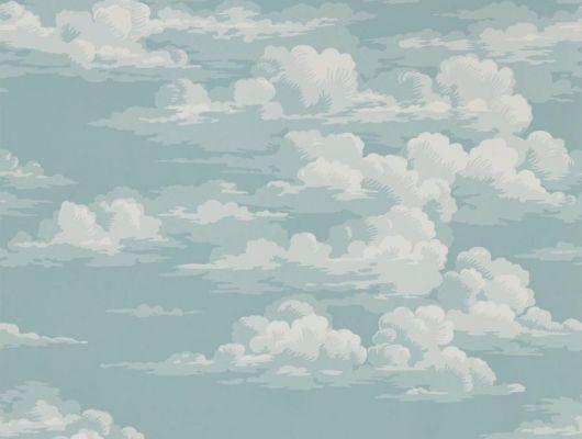 Легкий воздушный рисунок облаков в светлых тонах голубом фоне на обоях арт.216599 от Sanderson коллекции Elysian подойдет для ремонта спальни, Elysian, Обои для спальни