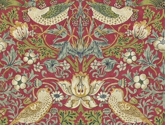 Обои бумажные  с птицами на красном фоне Strawberry Thief арт. 216848 из коллекции Compilation Wallpaper от Morris купить в интернет-магазине с доставкой, Compilation Wallpaper, Обои для гостиной, Обои для кухни