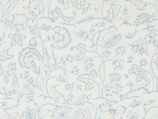 Выбрать бумажные обои для детской арт. 216698 из коллекции Melsetter от Morris, Великобритания, в светлых оттенкам с занимательным изображением животных,цветов и насекомых, в каталоге., Melsetter, Бумажные обои, Обои для гостиной, Обои для спальни