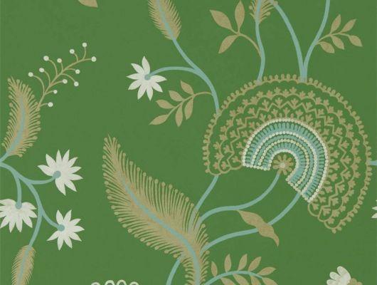 Флизелиновые обои Hakimi арт. 216768 из коллекции Caspian, Sanderson,  со стилизованными стеблями, цветами и листьями на изумрудном фоне купить по цене от поставщика., Caspian, Обои для гостиной, Обои для кабинета, Обои для кухни