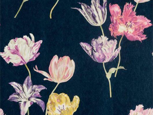 Заказать обои для спальни Tulipomania с цветами на темно синем фоне из коллекции The Glasshouse от производителя Sanderson с доставкой на дом, The Glasshouse, Обои для гостиной, Обои для спальни, Обои с цветами