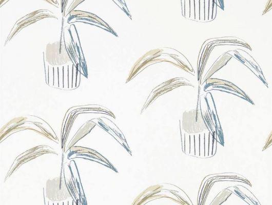 Оформить заказ на обои в гостиную арт. 111991 дизайн Crassula из коллекции Zanzibar от Scion, Великобритания с  принтом из стилизованных домашних растений в серо-бежевых тонах на молочном фоне в интернет-магазине в Москве, онлайн оплата, Zanzibar, Обои для гостиной, Обои для спальни