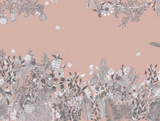Фотопанно под заказ с тропическим рисунком на розовом фоне. Птицы цветы и обезьяны купить в Москве, What's Your Story, Индивидуальное панно, Фотообои