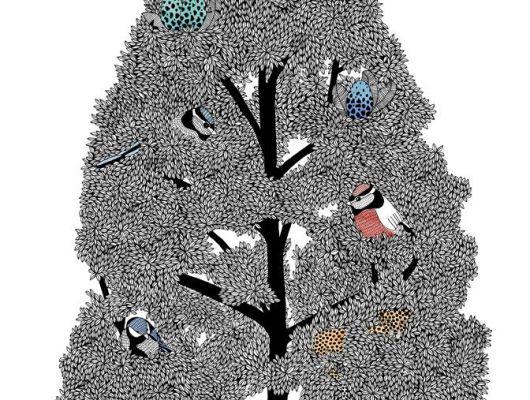 Фотопанно с огромным черным деревом на белом фоне с яйцами и птицами на его ветвях., What's Your Story, Индивидуальное панно, Фотообои