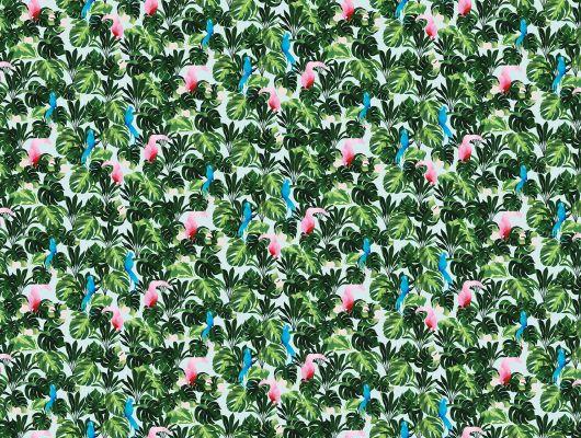 Яркие попугаи в тени раскидистых листьев тропических пальм на фотообоях под заказ из Швеции купить в Москве, What's Your Story, Индивидуальное панно, Фотообои