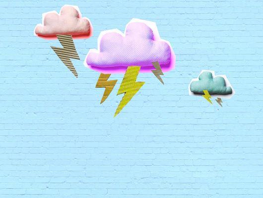 Детское фотопанно под заказ из Швеции с грозовыми подушками в виде облаков на фоне голубой кирпичной стены, Isabelle McAllister Collection, Детские обои, Детские фотообои, Индивидуальное панно, Фотообои