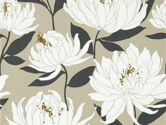 Заказать обои в прихожую арт. 112130 дизайн Sebal из коллекции Salinas от Harlequin, Великобритания с изображением хризантем белого цвета на блестящем серо-коричневом фоне с листьями черного цвета  в салоне обоев Odesign, недорого, Salinas, Обои для гостиной, Обои для спальни