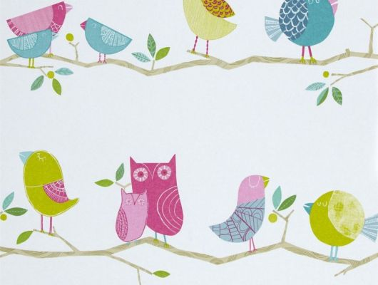 Купить в Москве детские обои What A Hoot арт. 112650/70515 от Harlequin с милыми розовыми, бирюзовыми и желтыми птичками, сидящими на ветках., Book of Little Treasures